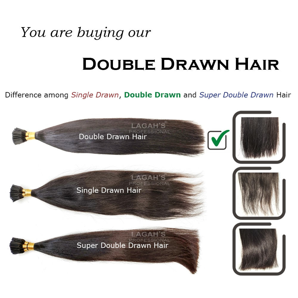 Difference among single drawn, double drawn and super double drawn human hair