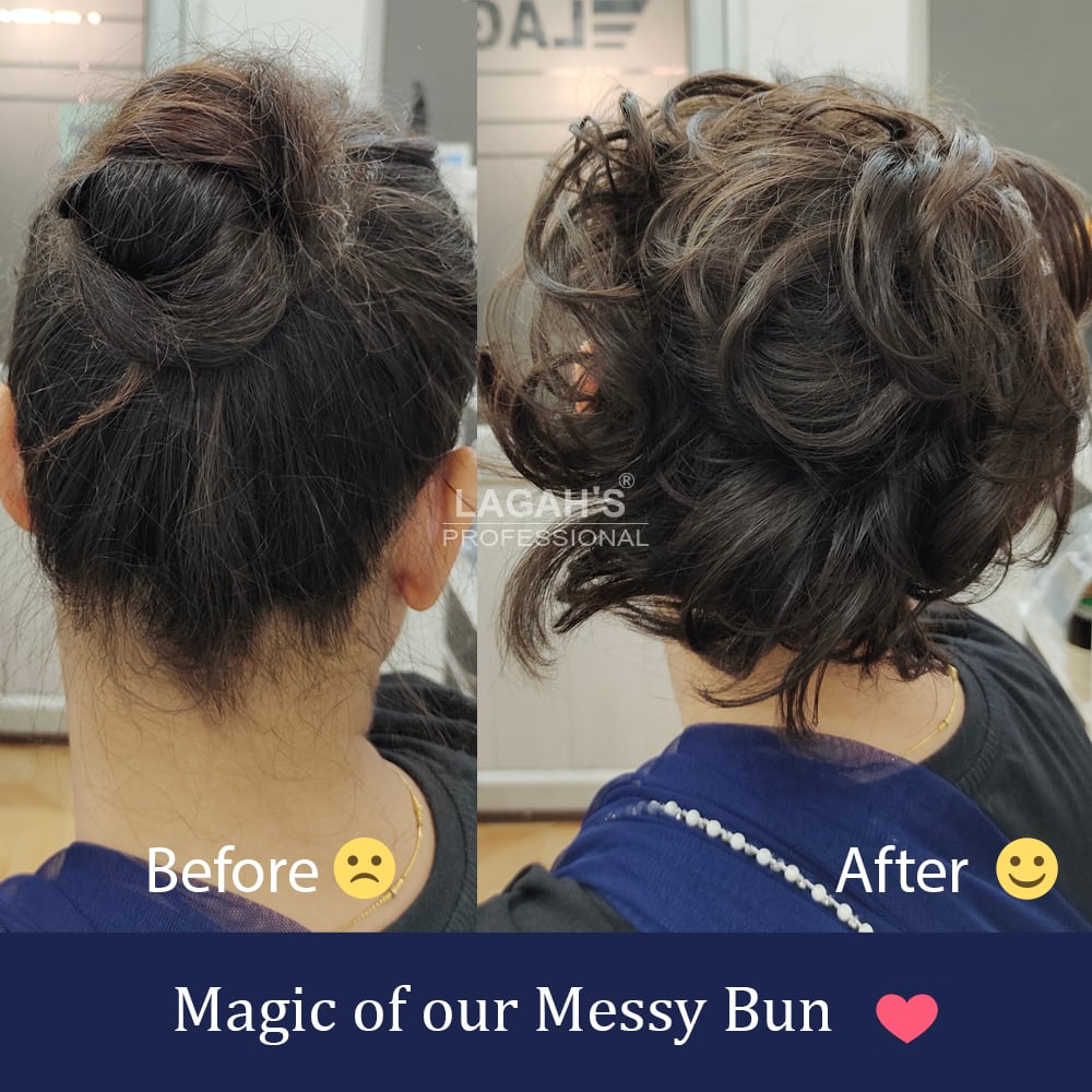 Before after image of Messy buns