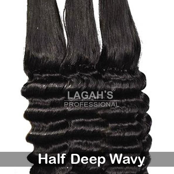 Half Deep Wavy Human Hair Texture